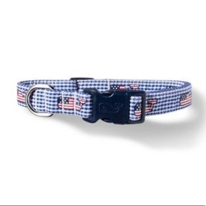 Flag Whale Gingham Vineyard Vines Dog Collar XS